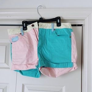 Forever 21 Retro Pastel Color Block Shorts